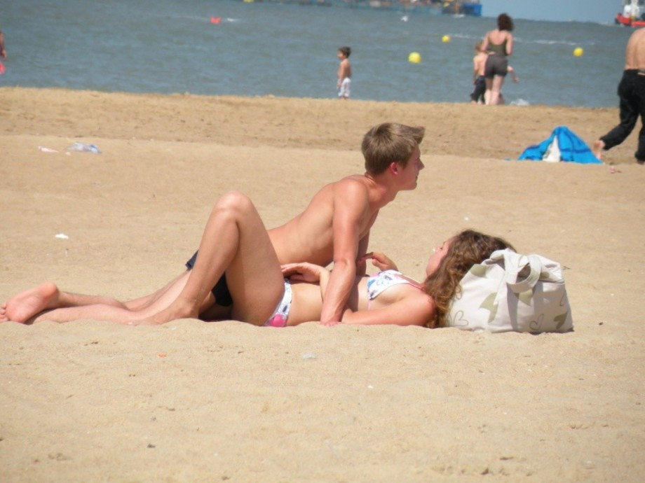 Real amateur mature couple on beach 2