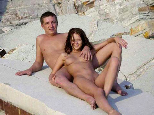 Young couple on nude beach #8