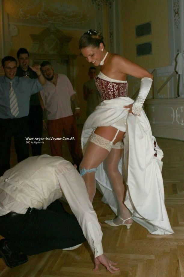 And photos Bride wedding upskirt