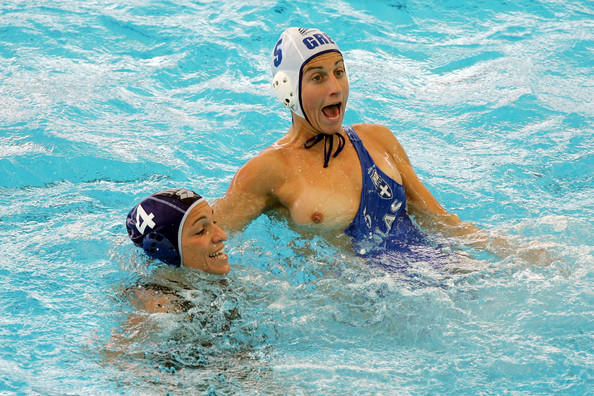 Amusing moment Water polo nip slip