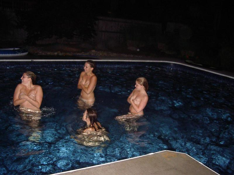 Amateur Skinny Dipping Pool Party