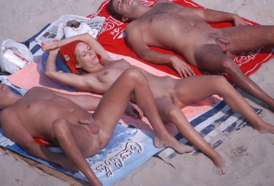 Nude girl with guys