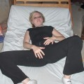 Shaved blonde girlfriend on the bed