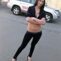 Skinny hot tramp drunk posing