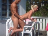 Couple on holiday have outdoor sex