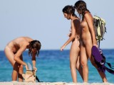 Three hot teens on the nudist beach